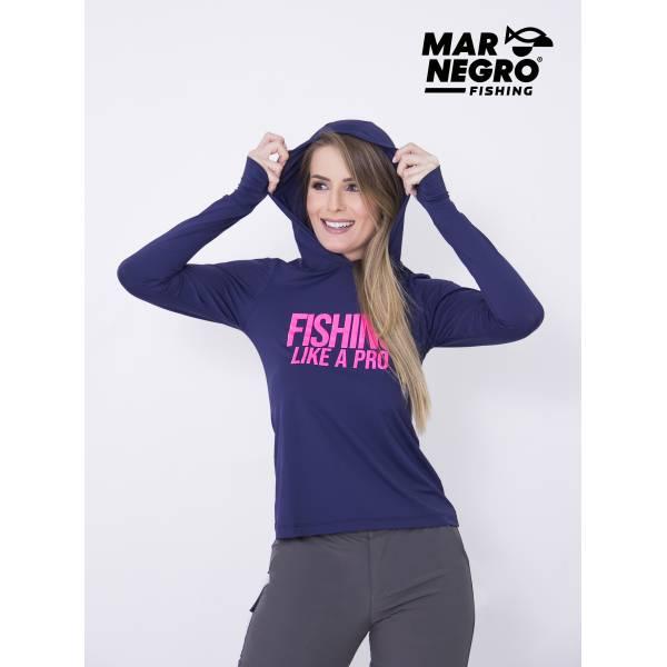 CAMISETA POLIAMIDA DE CAPUZ FEMININA MARINHO P